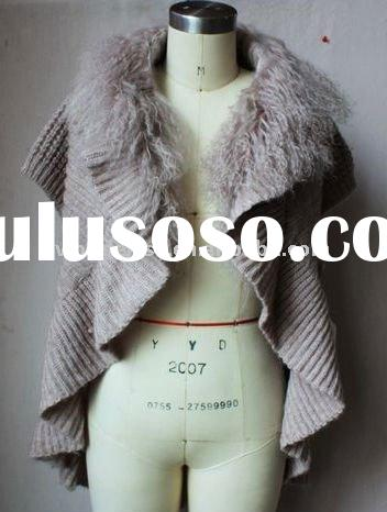 2012 New Design Ladies Fashion Long Cardigan Sweater with Fur Collar