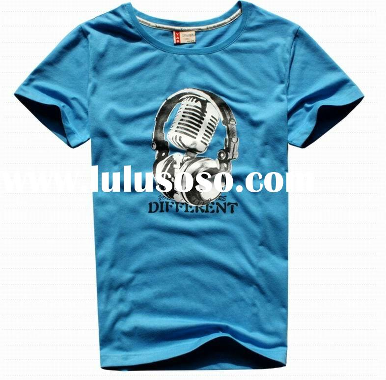 2012 fashion plain printing cotton t-shirts for men in humen