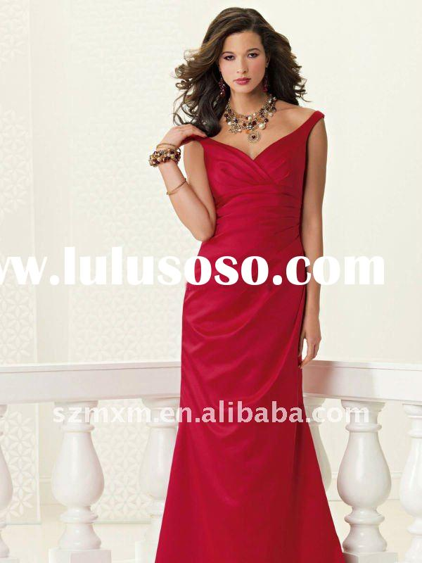 2012 low price discount simple a-line sleeveless full length red prom/evening/bridesmaid dress M15