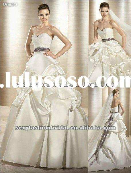 2012 new style sweetheart ruffle natural waist a line white wedding dress purple sash
