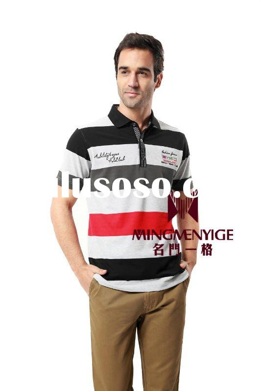 2012 summer fashion stripped cotton men's polo t shirt