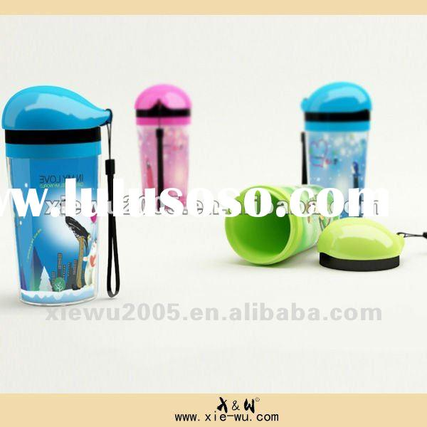 350ml pp double wall plastic water bottle for advertisement/SGS approved food grade free plastic mug
