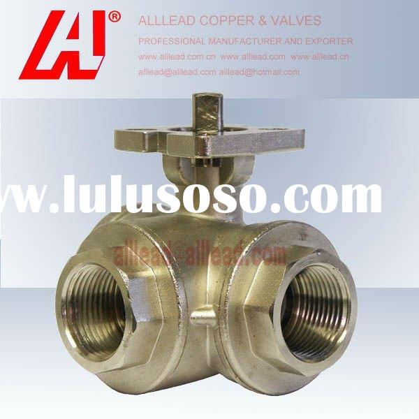 3 way flow ISO5211 pneumatic actuator ball valve