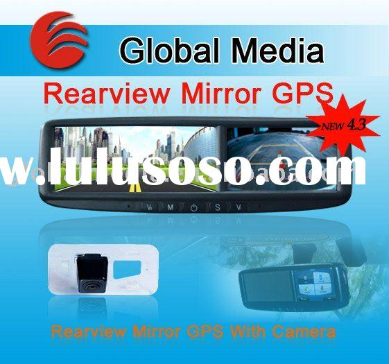 4.3 inch car rearview mirror with GPS,bluetooth and homelink for Toyota, volkswagen, volvo, VW