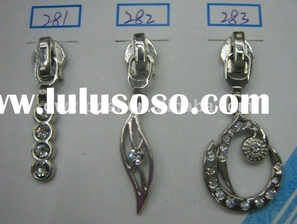 5# shining slider a/l for nylon zipper,with diamonds on the puller