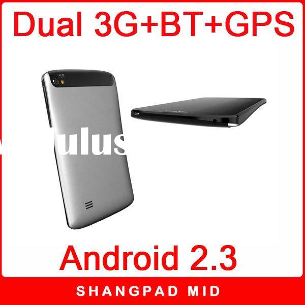 7 inch 3g dual sim phones android 2.3 video call tablet pc with FM TV GPS