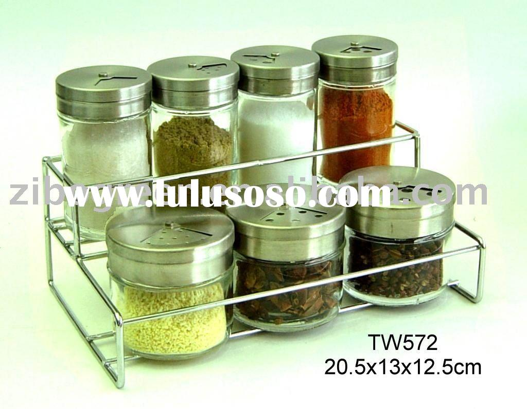 7pcs round glass spice jar set with metal rack (TW572)