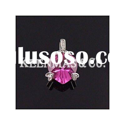 925 silver pendant with pink quartz cz stone,heart shape pendant,Keenmas Jewelry!