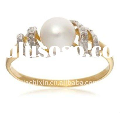 9K Yellow Gold Diamond and Pearl Engagement Ring