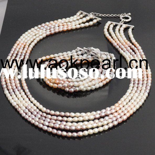 AS001 5 rows 4-5mm AAA freshwater pearl jewelry set
