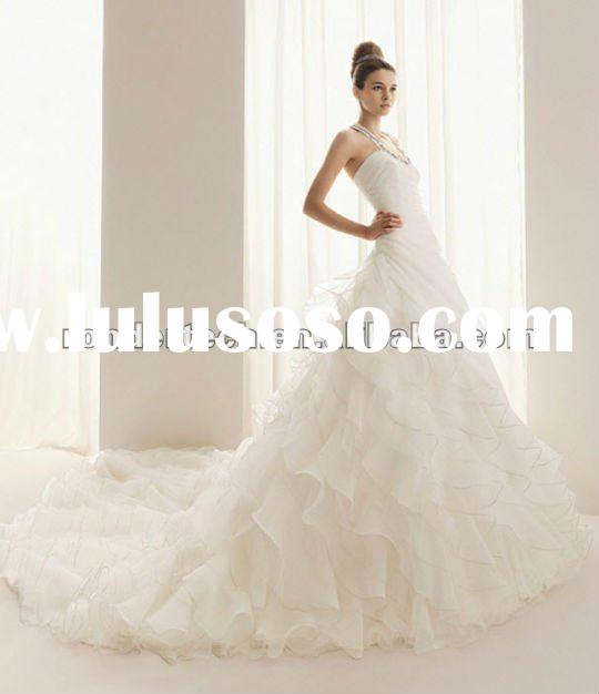 A-Line Ivory Halter Romantic Beading Ruffles Chapel Train Organza Formal wedding gowns 2012