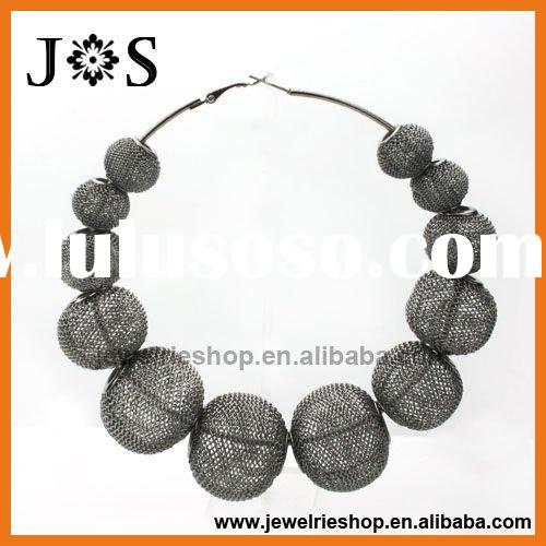 AmBURR Alert Gunmetal Plated Rondelle Mesh Bead Hoop Earring Poparazzi basketball wives earrings who