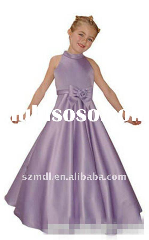 Beautiful and elegant light purple halter long princess ball gown flower girl dress