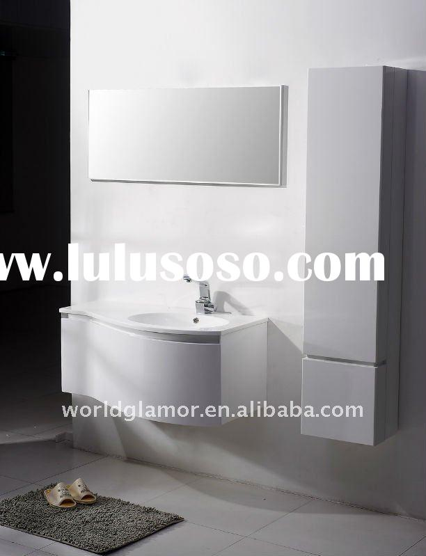 Bertch High gloss white paint PVC bathroom cabinet C1000 with luxury wall cabinet