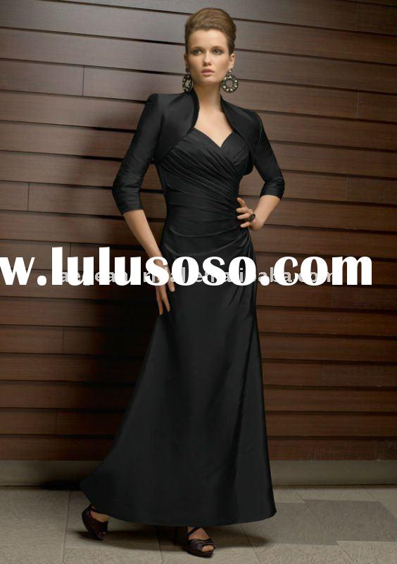 Black pleated taffeta Mother of the bride dress with long sleeve jacket 70318