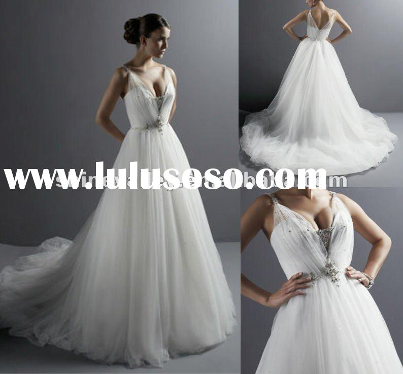 Brand New Simple Style A-line White Tulle Wedding Dresses,PV752