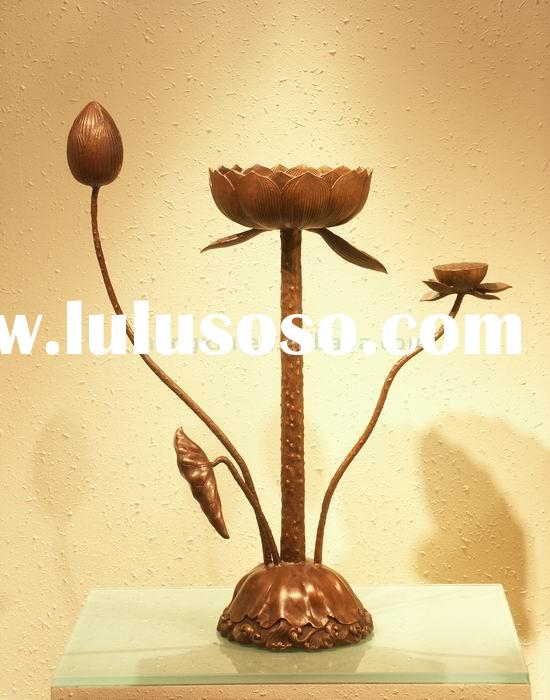 CH-050 flower candle holder antique brass candlestick metal candle holder