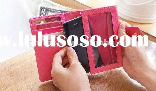 Card Holder Flip Leather Case Cover Pouch For iPhone 4 4S 4G