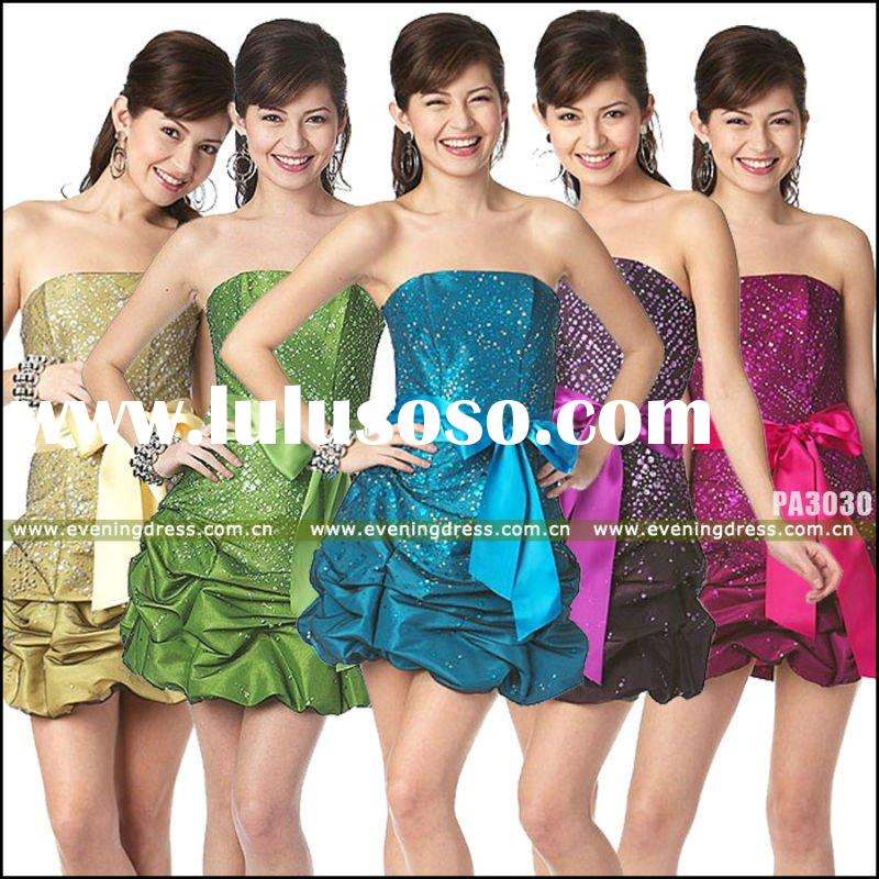 Catherine New Fashion Colorful Off Shoulder Cute Mini Summer Short Prom Dress 2011 PA3030