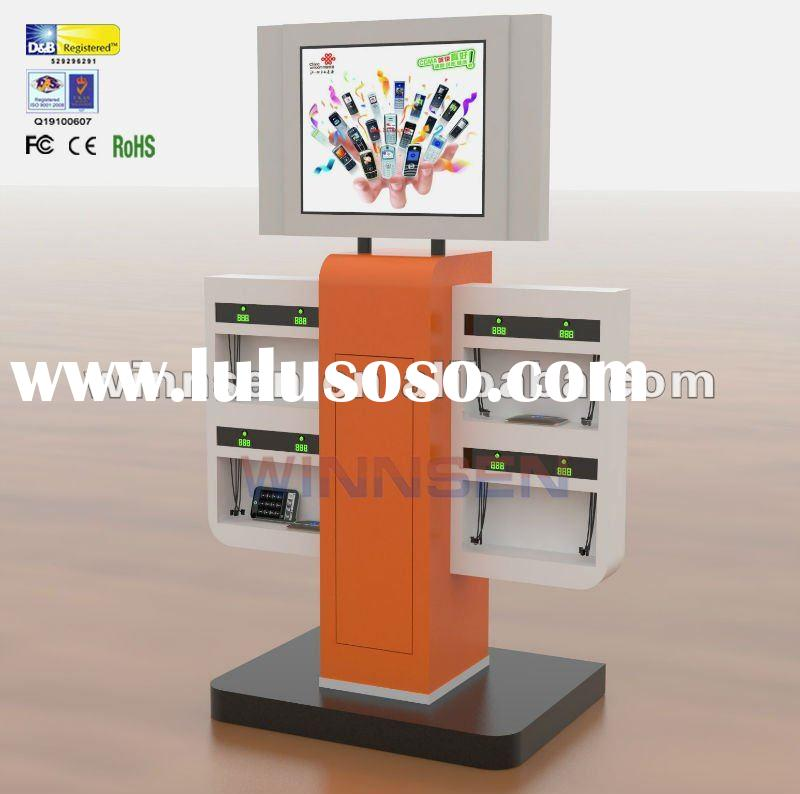 Cell Phone Charging Station with LCD Advertising Player, and different charging tips for different b