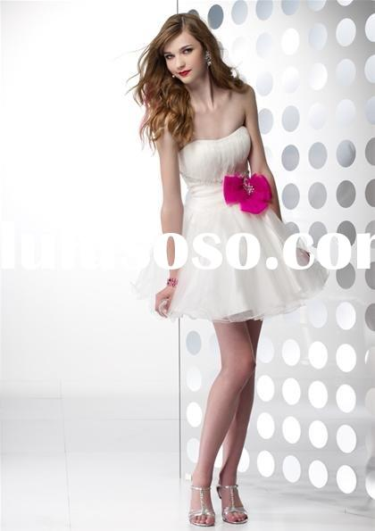 Charming white organza short prom dresses B35411