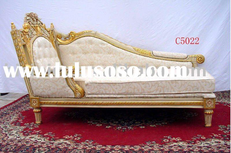 Classical wooden chaise lounge, sofa, hand carving, european style
