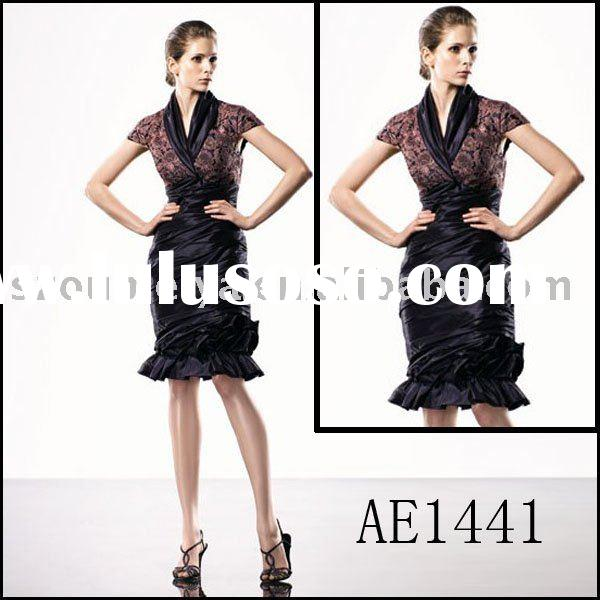 Classy Noble Short Sleeve Knee-length Lace Evening Dress AE1441