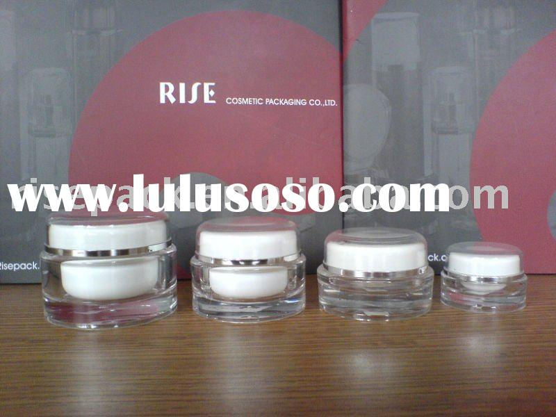 Cosmetic Acrylic Empty Packaging Round Skincare Cream Gel Screw Cap Jars Containers