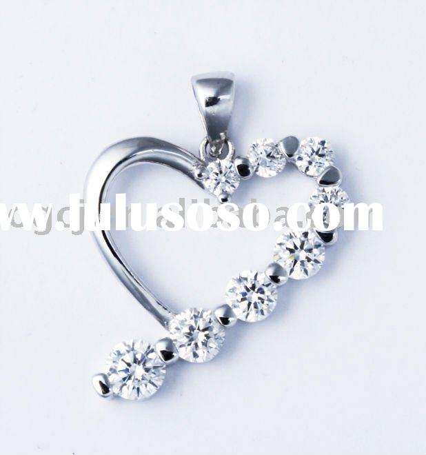 D25119 Heart shape pendant Rhodium plated Wholesale jewelry