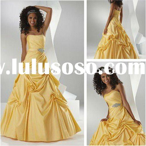 Daisy Yellow Strapless Taffeta Ball Gown Prom Dresses On Sale