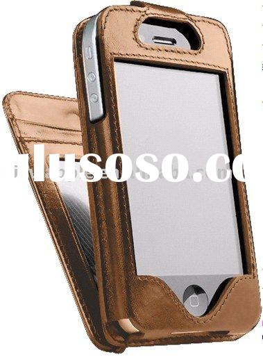 Deluxe Wallet Flip Leather Case for iphone 4g (credit card slots avaiable) in coffee