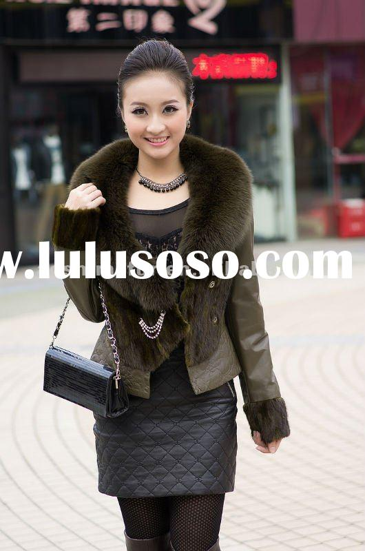 Elegant high fashion design sheepskin leather fur coat for ladies 2012,ladies suede fur coat with fo