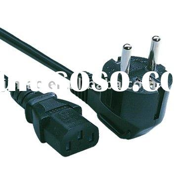 Euro type power cord cable with schuko plug connector PVC Rubber cable main lead