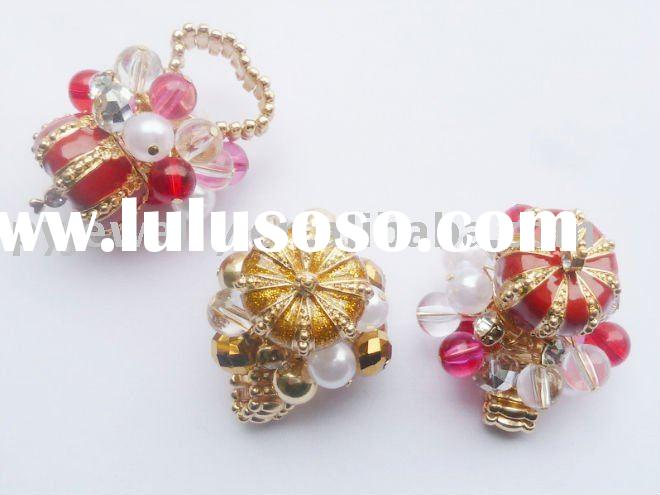 Fashion alloy handmade& newest crown beads jewellery rings