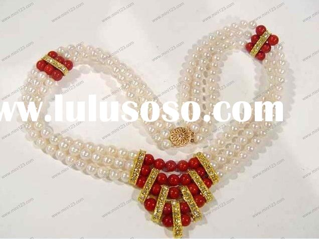 Fashion freshwater pearl&red coral jewelry necklace set