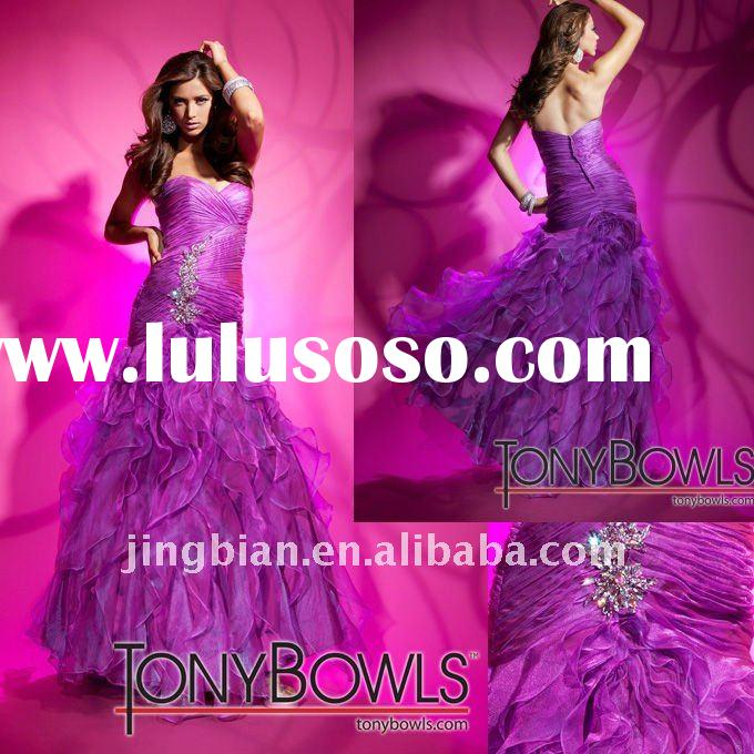 Fashion latest dress designs sweetheart evening dress 2012 with spark beaded tony bowls evening dres