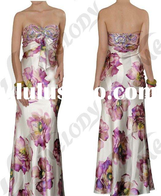 Flowers Printed Satin Fabric Evening Dress Patterns