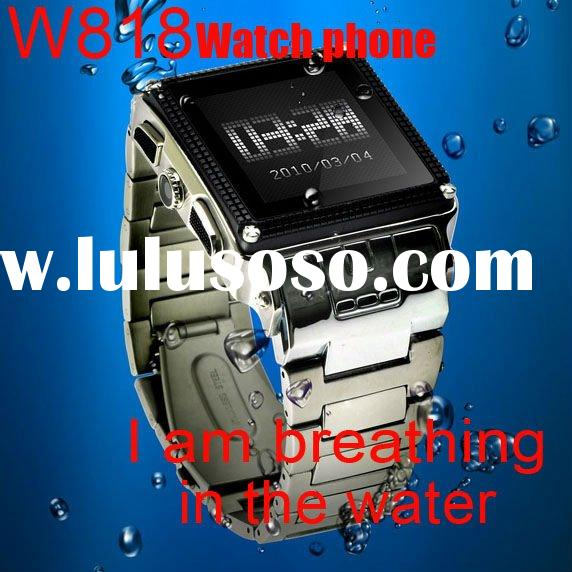 Free shipping! Hot sale!Waterproof watch phone W818 Black and silver color for choose