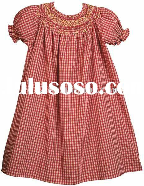 Girls 100% Cotton Short Sleeve Smocked Red Plaid Embroidered Girl's Dress