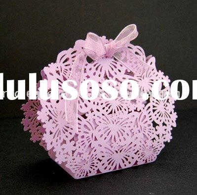 HOT 2011 Red Leaves Butterfly laser cut paper favor box ST0937-01