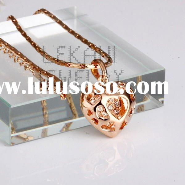 Handmade connected earring necklace, 18K rose gold pendant necklace LZABN002