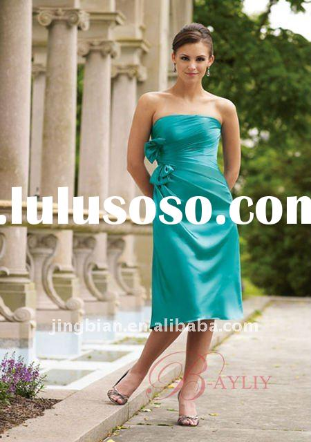 High Quality Blue Bridesmaid Dresses A-Line Strapless Tube Top Knee Length Satin Bowknot 2012 New La