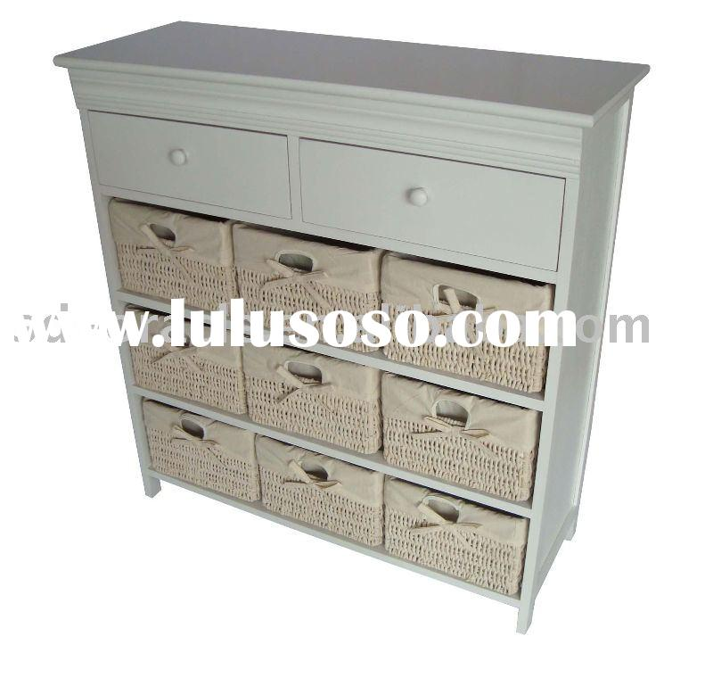 Home Furniture,wicker/rattan furniture,Wooden cabinet with maize baskets