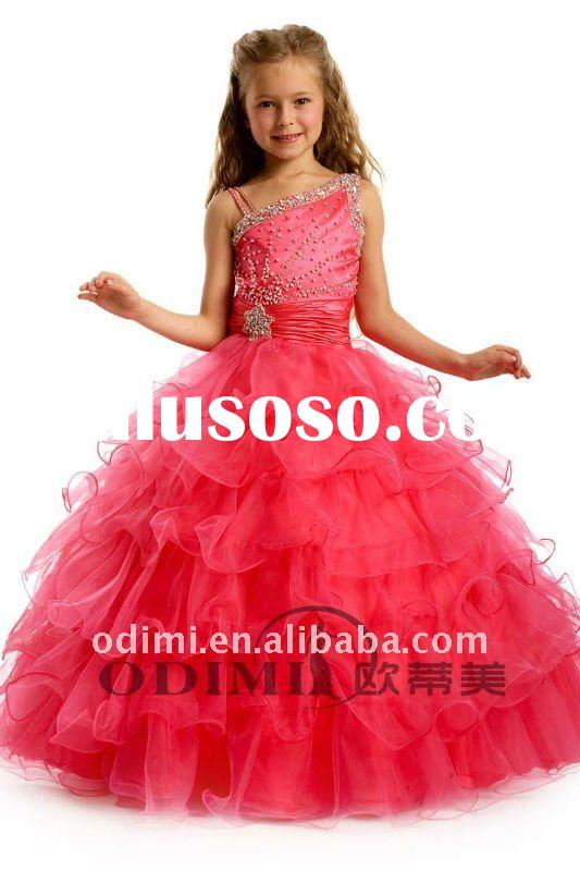 Hot Sale Beaded Red Flower Girls Pageant Dress