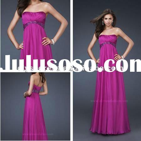 Hot Seller Poly Chiffon Long Strapless La Femme Rhinestone Prom Dress Pregnant Women Dresses