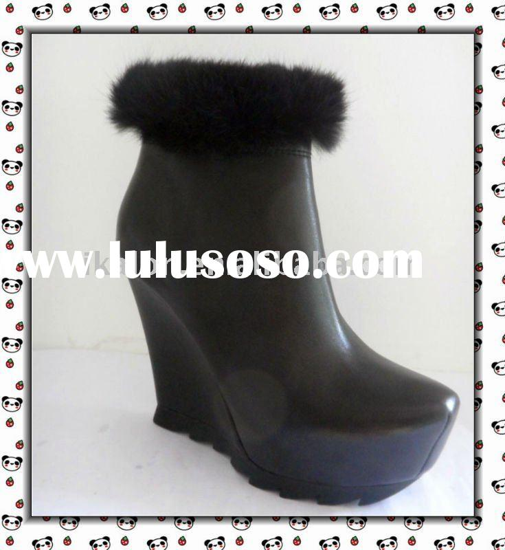 Hot Short Women Boot Abortive Calfskin Leather Boot with Zipper and mink hair decorate