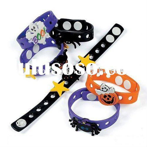 Hot sale!Assorted Rubber Halloween Bracelets,Halloween cute trick-or-treat costume bracelets,two san