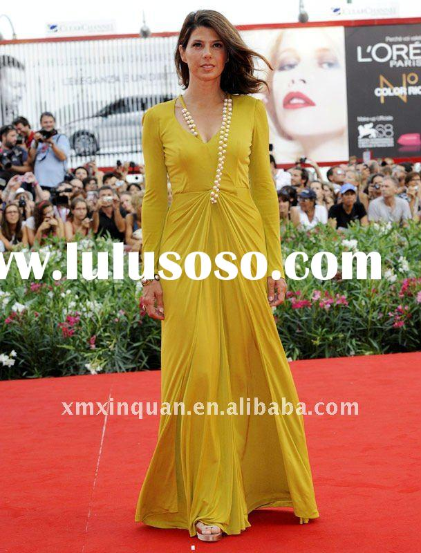 JHT132 Ladies beautiful red carpet Celebrities yellow pearls beaded evening dress with long sleeve