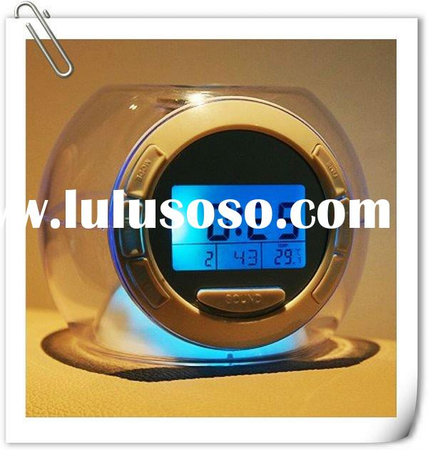 Lastest mordern design round ball shape 7 LED color changable glowing digital alarm clocks with natu