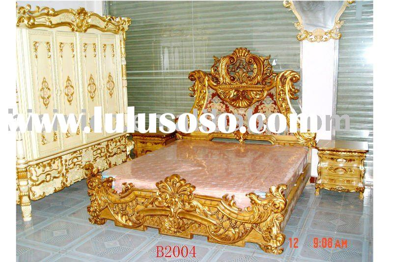 Louis style Classical & antique wooden luxury bedroom set, king size bed, dresser, wardrobe,hand